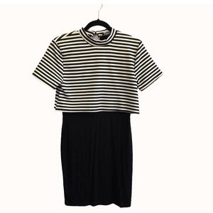 Missguided black and white striped dress